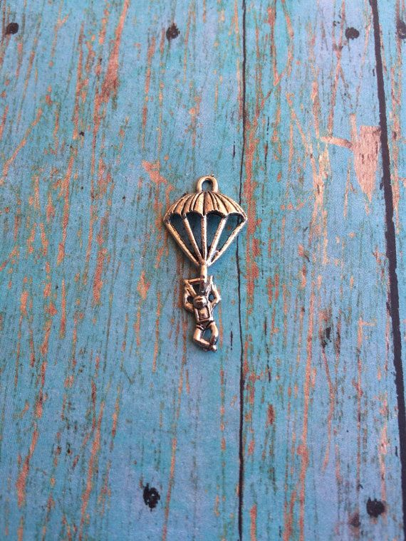 Parachuter charm pewter 1 piece  silver by KimsFancyFindings