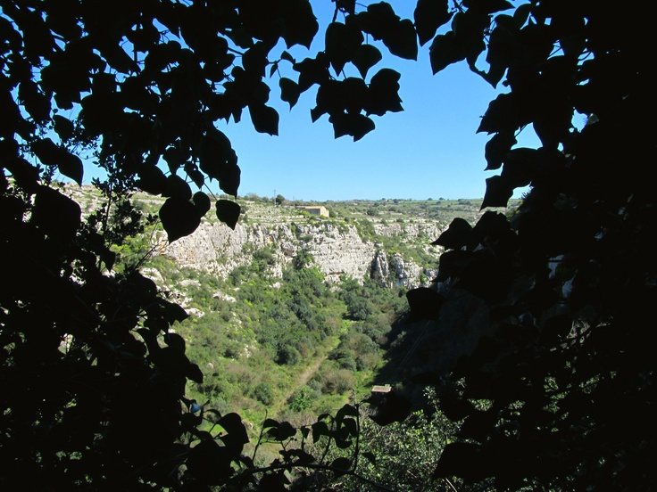 """View from the famous rupestral construction of the so-called """"Castello"""" (The Castle) of Cava d'Ispica, Sicily - ITALY"""