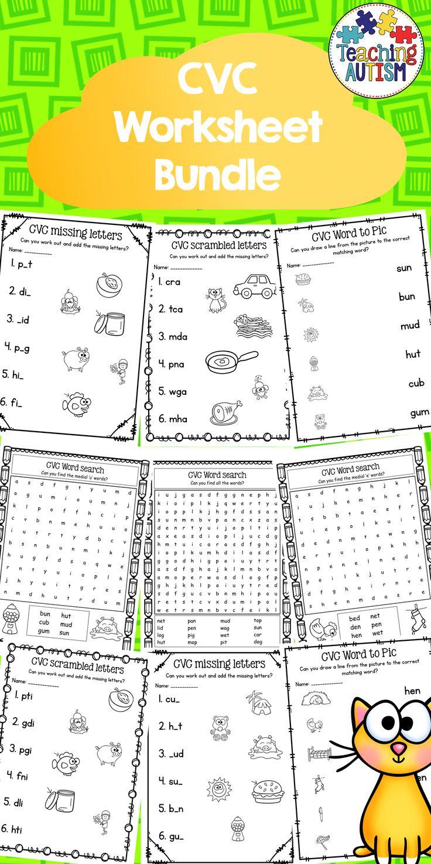 CVC Worksheet Bundle, Printable, No Prep This is a small bundle consisting of…