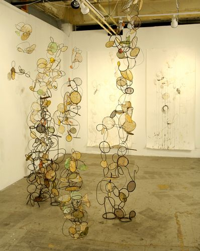 Rickie Wolfe: Under the Big Tent- metal, wire, paper, fibers, wax, shellac, 2009