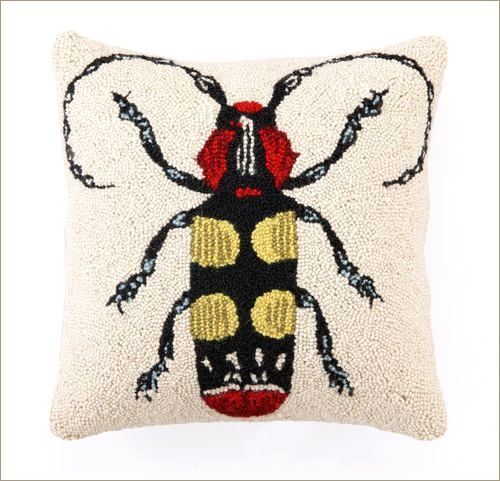 Longhorn Beetle Throw Pillow: Our Insect Throw Pillows are a rare and wonderful find. These magnificently plush, whimsically scaled throw pillows make an instantly comfortable and vibrant embellishment in a room. Hand-hooked wool front. Enticing, velveteen cotton back. Plush polyester filler. Hidden zipper. Imported. 18