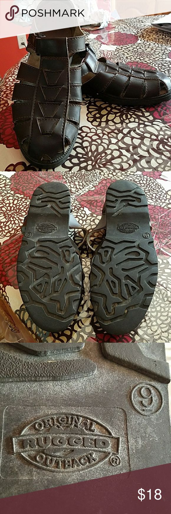 Men's Original Rugged Outback sandals Dark Brown with Velcro fasteners - minor scuff on one shoe. Original Rugged Outback Shoes Sandals & Flip-Flops