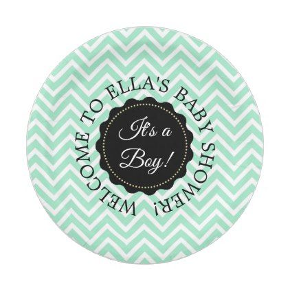 Personalized Baby Shower Sage Chevron Paper Plates - home gifts ideas decor special unique custom individual customized individualized