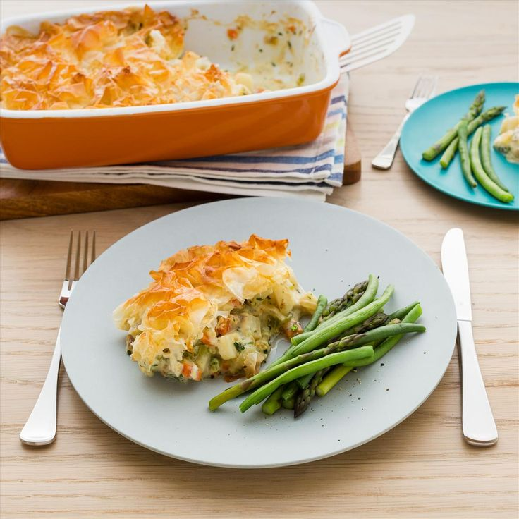 Fish Filo Pie with Steamed Greens