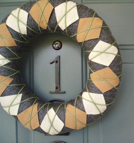 Yarn Wreath Felt Handmade Door Decoration  Argyle Plaid by ItzFitz, $45.00