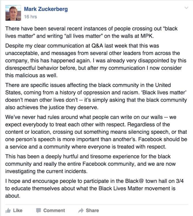 Mark Zuckerburg, All Lives Matter, FB, 2016