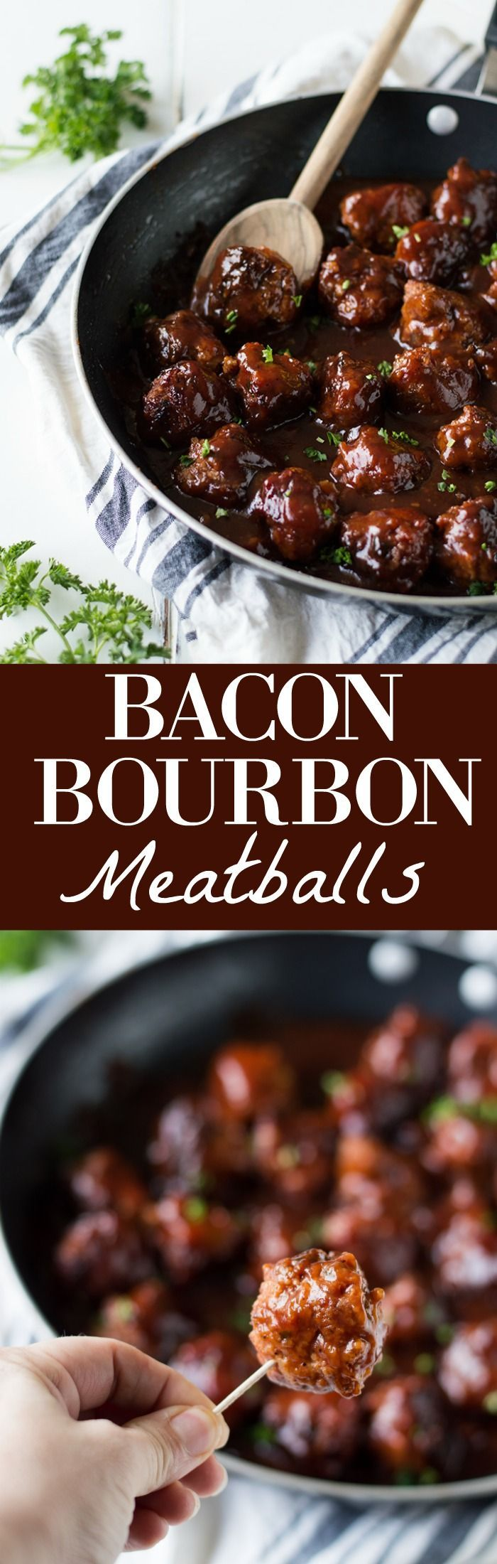 Bacon Bourbon Meatballs! These meatballs are made with bacon and ground beef and simmered in a bourbon bbq sauce. Perfect to serve as an appetizer for the big game or on a sandwich for family dinner!