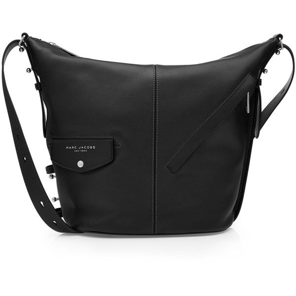 Marc Jacobs The Sling Leather Tote (19,270 THB) via Polyvore featuring bags, handbags, tote bags, black, tote handbags, marc jacobs tote, leather totes, leather tote bags и marc jacobs purse