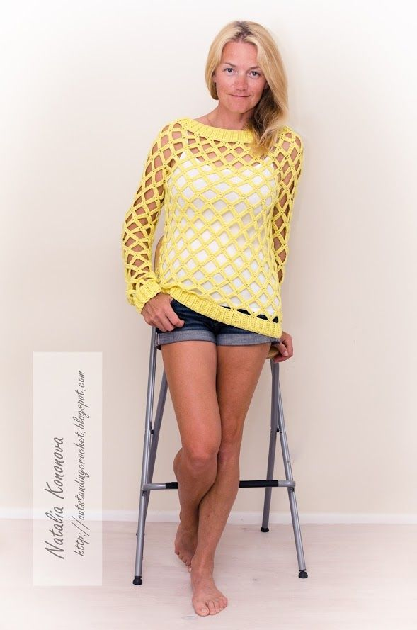 Outstanding Crochet: New Project. Yellow Large Mesh/Net Crochet Sexy Pullover.