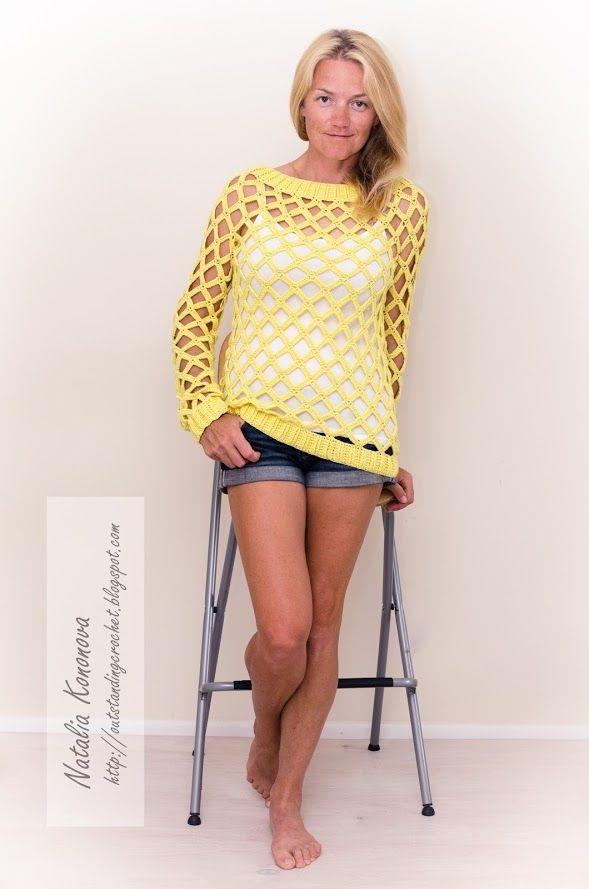 Outstanding Crochet: New Project. Yellow Large Mesh/Net Crochet Sexy Pullover. #crochet #sweater #women #mesh #yellow