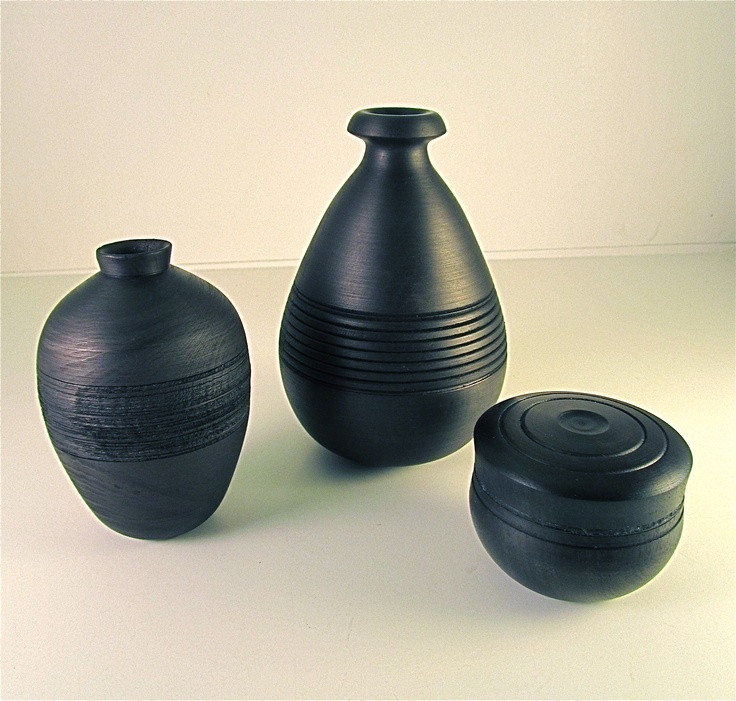 """""""Ode to Black"""" - Two Hollow forms and a lidded box.  Dyed with Black leather dye. Sealed with Polishing Wax.  www.carmendelapaz.com"""