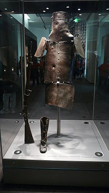 The armour in which each member of the gang was clad was of a most substantial character. It was made of iron a quarter of an inch thick, and consisted of a long breast-plate, shoulder-plates, back-guard, and helmet. The helmet resembled a nail can without a crown, and with a long slit at the elevation of the eyes to look through. Ned Kelly's armour alone weighed 97lb