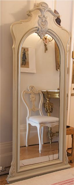 Antique Swedish Painted Gilt Gustavian Empire Mirror
