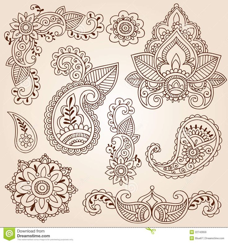 Free Henna Designs | henna doodles mehndi tattoo design elements set royalty free stocks