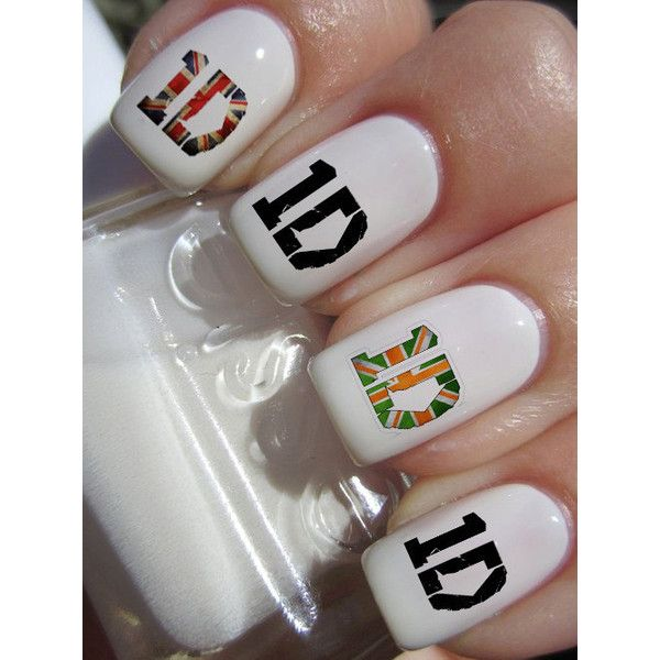 One Direction 1D logo Nail Decals 36Ct. ($4.85) ❤ liked on Polyvore featuring beauty products, nail care, nail treatments, nails, one direction, makeup, beauty and nail polish