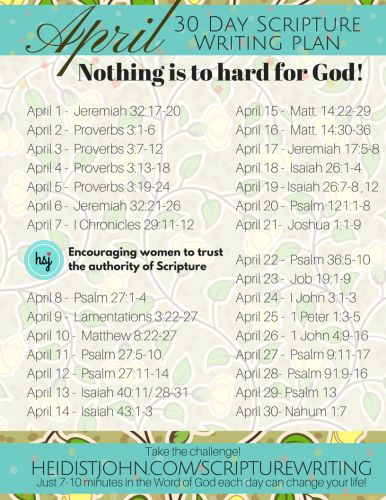 April 30 Day Scripture Writing Plan. Nothing is too hard for God..