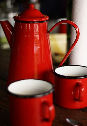 Red Teapot and Mugs