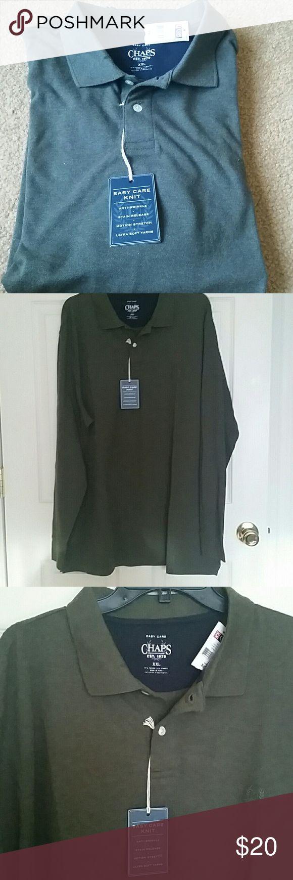 Chaps, Men Long sleeve Polo Shirt Big&Tall New, Chaps Long sleeve Polo Shirt Chaps Shirts Polos