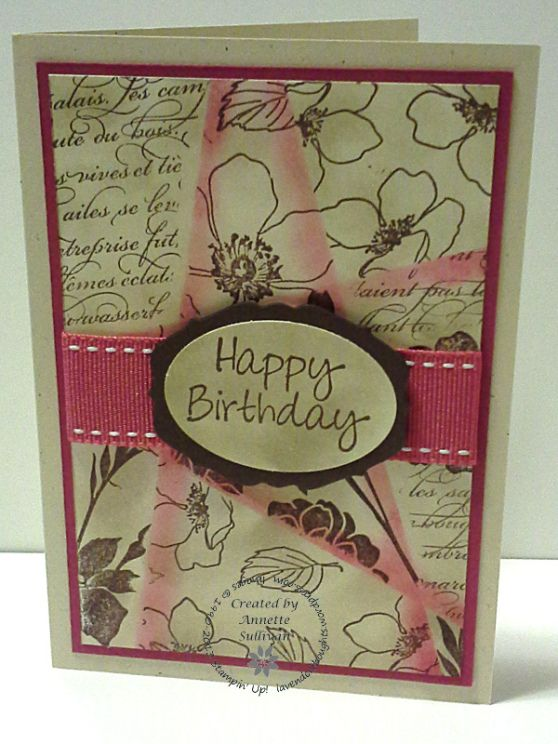 Lavenderthoughts - Stampin' Up! Fabulous Florets Choc Rose Retiform