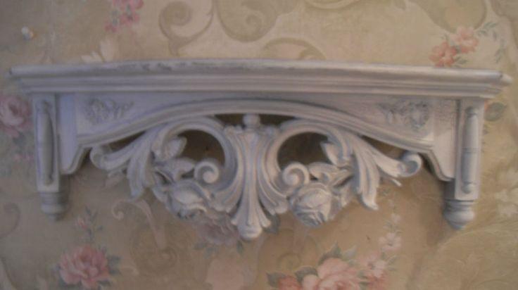 "Ornate Shabby White Wall Shelf Homco 19"" Bed Crown Roses"