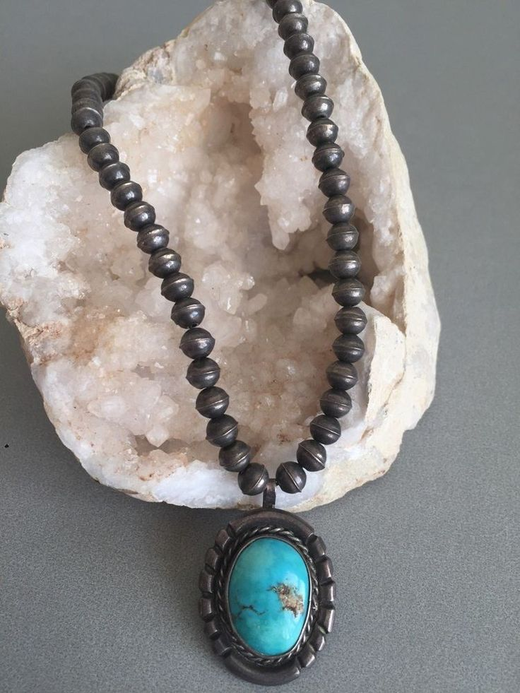 """VERY OLD PAWN Sterling Silver 16"""" NAVAJO PEARL Necklace w/ TURQUOISE Pendant"""