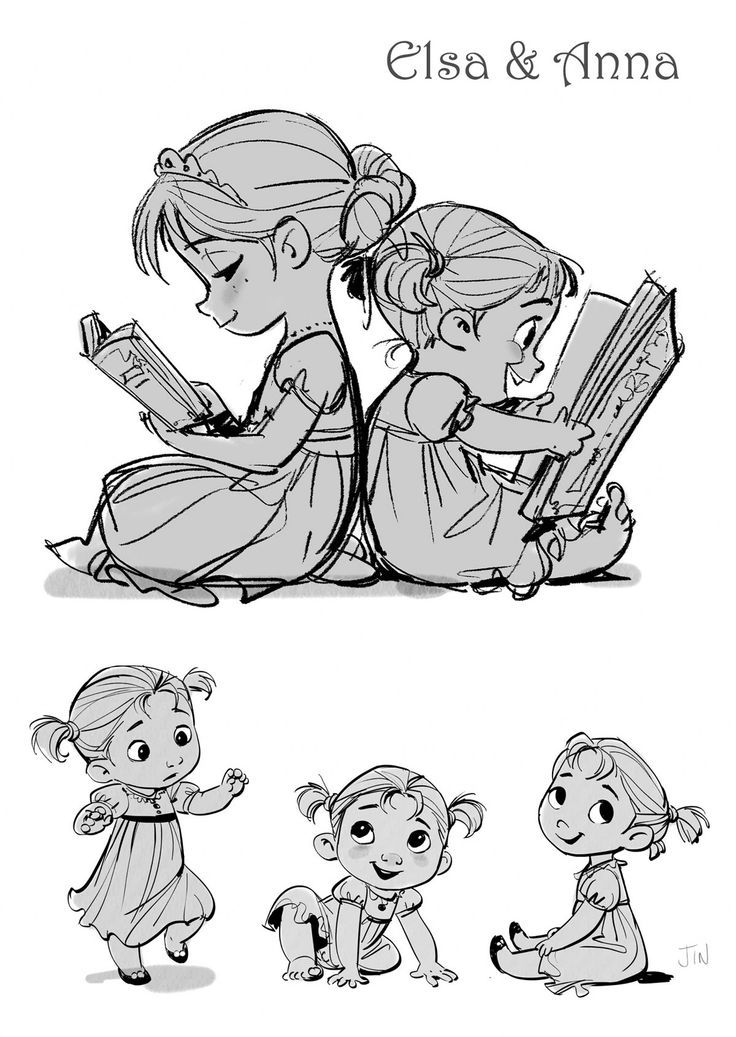 Elsa e Anna, do filme Frozen, por Jin Kim   THECAB - The Concept Art Blog: