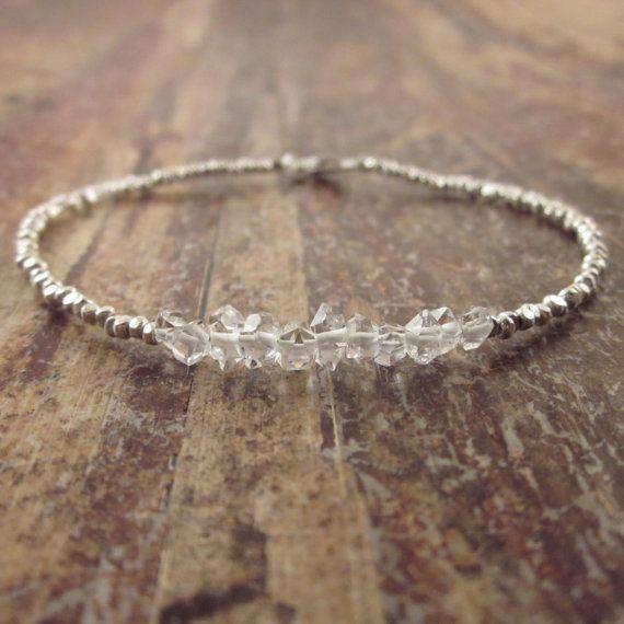 Bracciale, ragazze adolescenti, regali Herkimer minuscoli diamanti bracciale Hill Tribe perline argento perline braccialetto perline pietra bracciale donna per lei