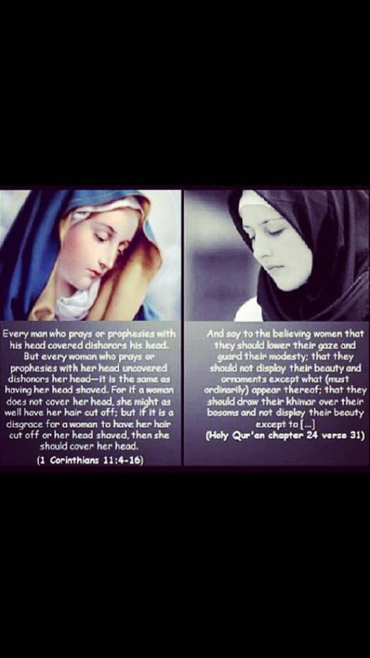 Side by side. Many people do not realize or forget Christians used to cover as well.