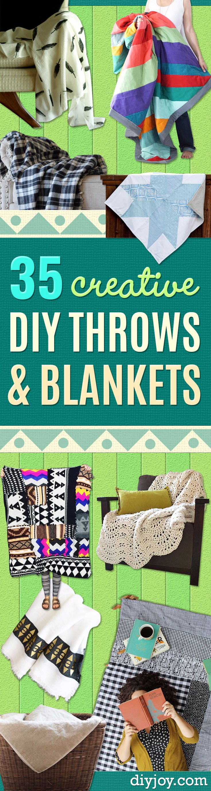 DIY Blankets and Throws - How To Make Easy Home Decor and Warm Covers for Women, Kids, Teens and Adults - Fleece, Knit, No Sew and Easy Projects to Make for Bed and Sofa - Creative Blanket Sewing Projects and Crafts http://diyjoy.com/diy-blankets-throws