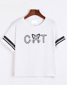 Cat Print White T-shirt