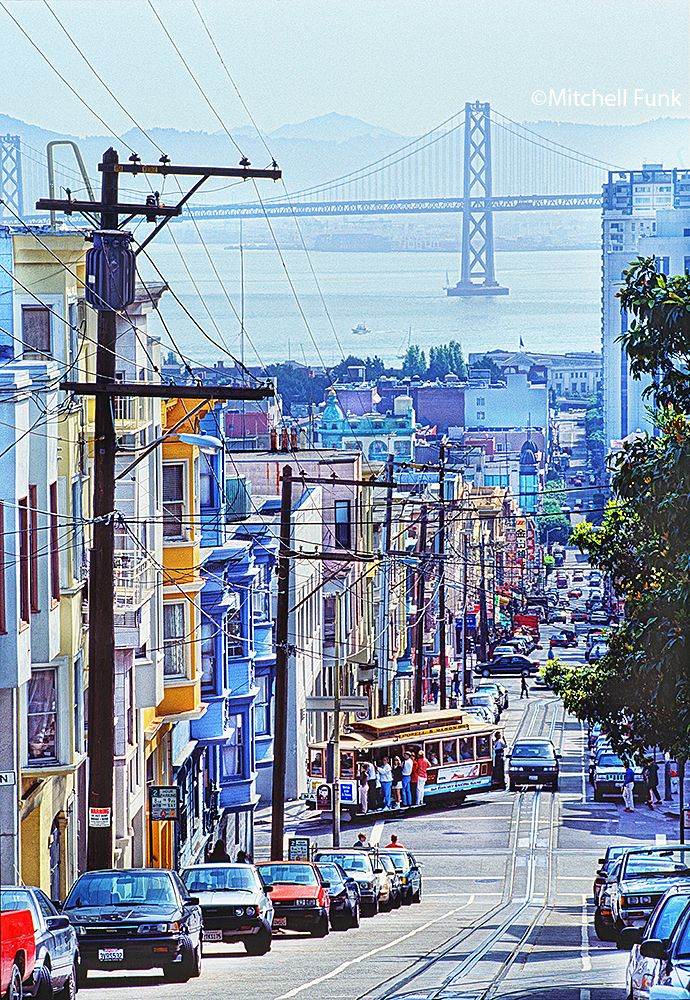 Cable Car On Russian Hill Street With Bay Bridge In The Background, San  Francisco mitchellfunk.com