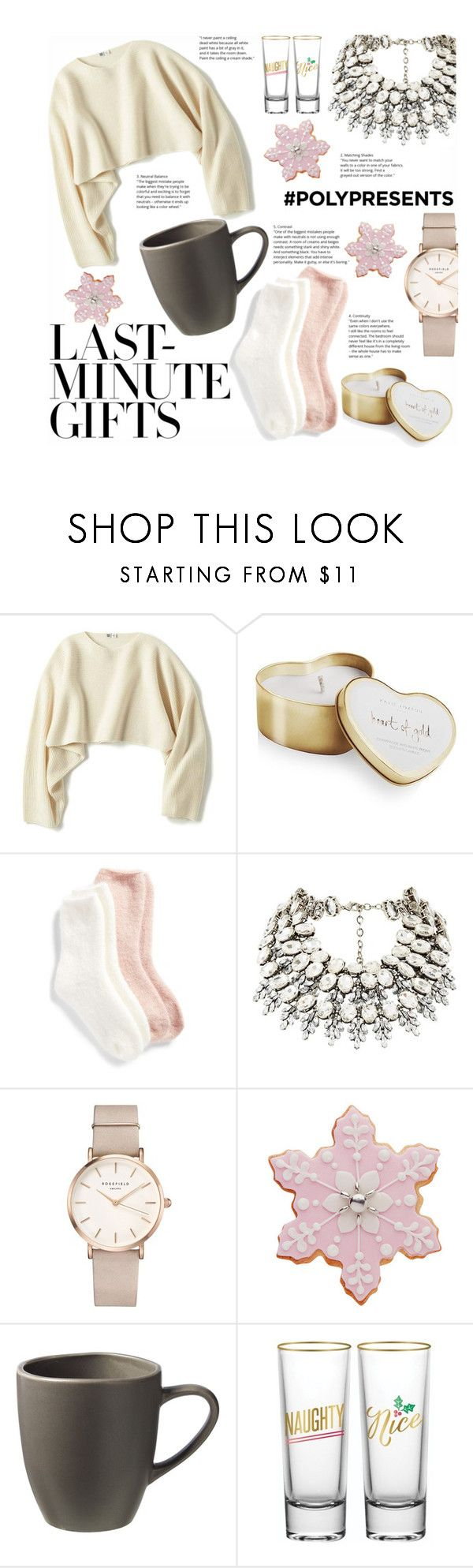 """""""#PolyPresents: Last-Minute Gifts"""" by soyance ❤ liked on Polyvore featuring Uniqlo, Katie Loxton, Lemon, ROSEFIELD, West Elm, contestentry and polyPresents"""