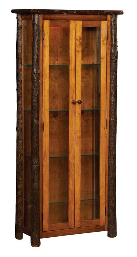 Amish Rustic Hickory Curio Cabinet With Doors