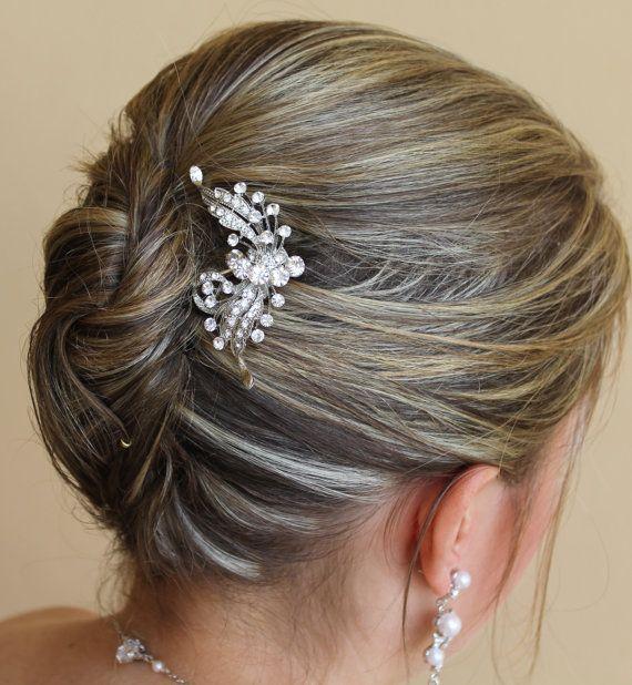 Crystal Bridal Hair Comb, Wedding Hair Accessories,Crystal Bridal Hair Piece, Bridal Hair Clip ROSE