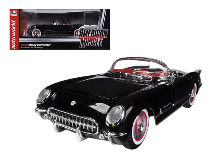 1954 Chevrolet Corvette Black Limited to 1500pc 1/18 Diecast Model Car by Autoworld - Brand new 1:18 scale diecast model of 1954 Chevrolet Corvette Black die cast model car by Autoworld. Limited Edition. Only 1500pc Produced Worldwide. Each car is individually numbered. Displayed as a top d down convertible in black paint with a red interior, the 1954 CorvetteR handled well for its time, thanks to a low center of gravity and an almost 50/50 weight distribution. Sleek white wall tires…