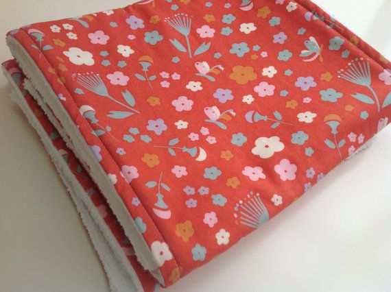 Set of 2 burp cloths in pink pretty floral fabric by Bear Cubs Store, £13.00 on Etsy