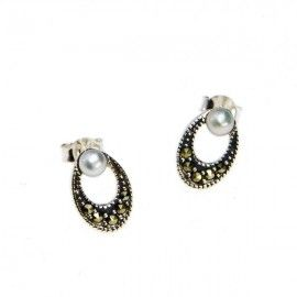 Oval Studs with Pearl and Marcasites. #freshwaterpearl #earrings #jewelry #Swish