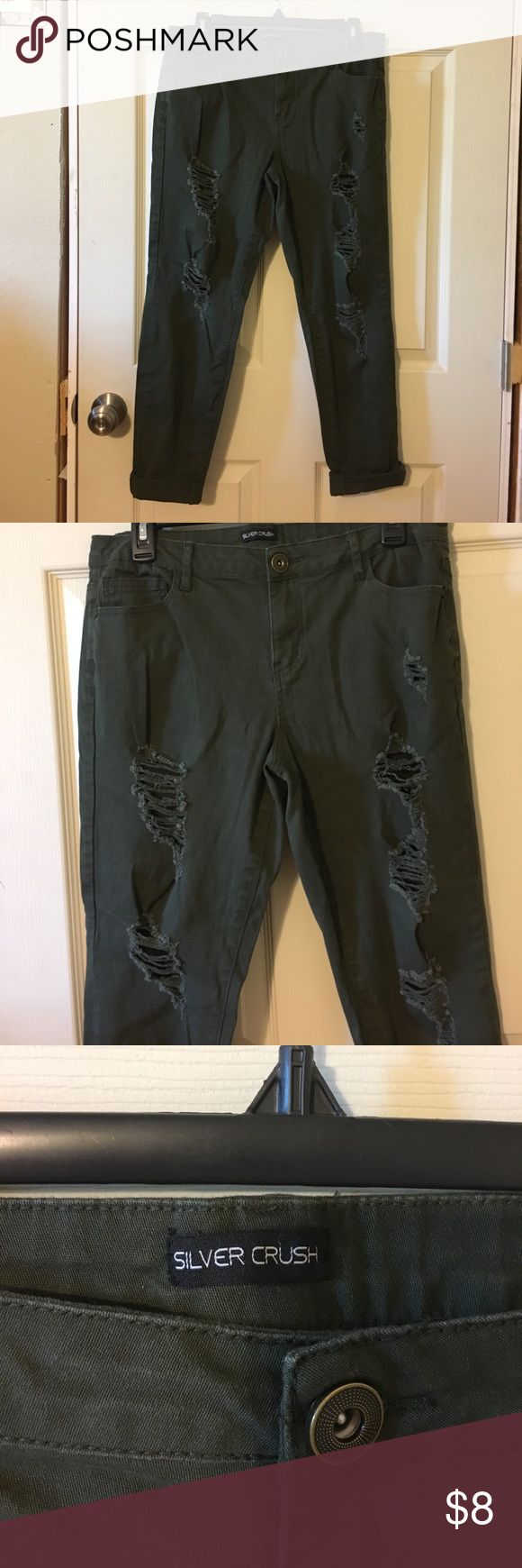 Selling this Ladies army green distressed skinny pants. on Poshmark! My username is: bloomforyou. #shopmycloset #poshmark #fashion #shopping #style #forsale #silver crush #Pants