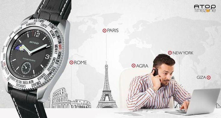 """Yeni bir #hafta, yine toplantılar, yine #görüşmeler... #Yurtdışı ile iletişimi sık olanlar için """"Hangi şehirde saat kaç?""""; hepsi kolunuzda! - Atop WWS serisi Herkese iyi haftalar! #saat www.AtopTimeZone.com"""