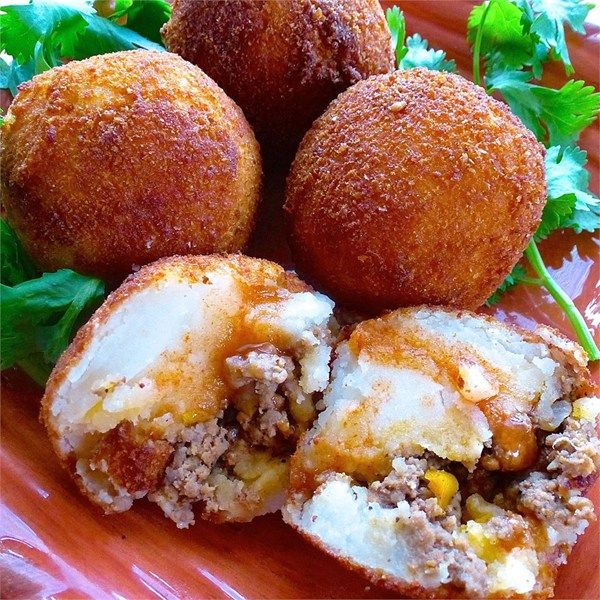"""Papas Rellenas (Fried Stuffed Potatoes)   """"I loved this recipe! I tried it today and it came out delicious!"""""""