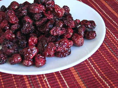 Healthy Dried Cranberries  (makes 1 c)  12 oz fresh cranberries  2 quarts boiling water  1/4 c honey