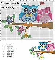 Owls in love free cross stitch pattern