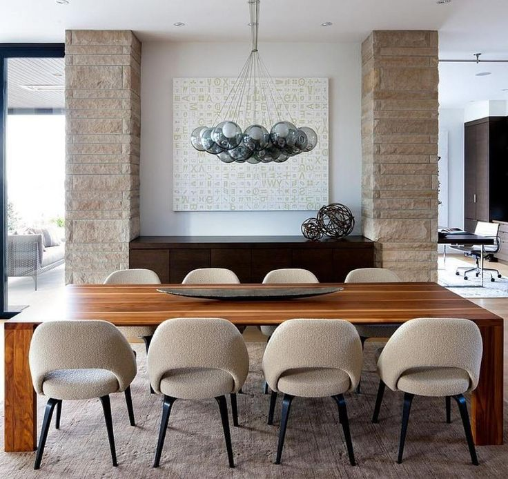 Wooden Table With Gray Comfort Chairs For Large Size Dining Table Design  For Modern Near Sea