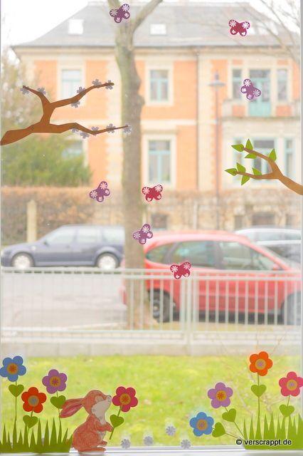 Frühling-Spring-Ostern-Fensterbild-Fensterdeko-Fenster-Dekoration-Pastell-Blumen-Stanzer-einfach-kleben-Cardstock-Papier-Fensterdekoration