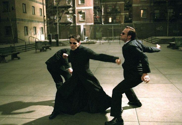 MATRIX RELOADED, Keanu Reeves, Hugo Weaving, 2003 | Essential Film Stars, Hugo Weaving http://gay-themed-films.com/film-stars-hugo-weaving/