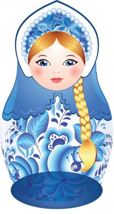 Matryoshka (Russian nesting doll) with a long plait. Vector clip art. #folk #art…