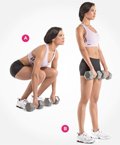 Dumbbell Deadlift Set a pair of dumbbells on the floor in front of you. Bend at your hips and knees, and grab the dumbbells with an overhand grip. (A) Without allowing your lower back to round, stand up with the dumbbells. (B) Lower the dumbbells to the floor.