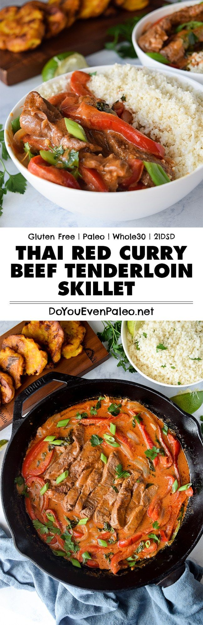 This quick Thai Red Curry Beef Tenderloin Skillet makes a spicy little weeknight dinner. Plus, it's gluten free, paleo, Whole30, and 21DSD friendly!   DoYouEvenPaleo.net