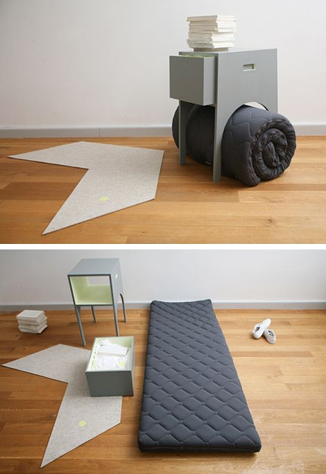 Stay At My Home is a series of objects that enable you to install a comfortable overnight stay for house guest. Designed by Nicole Lehner & Luzia KaLin.