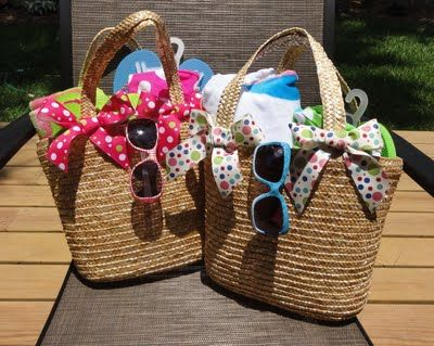 Cute Spring/Summer gift idea for Mom's Day, Birthday, or Teacher!  Fill a straw tote, (Target), with flip flops, beach towel, swim suit, sunglasses, nail polish, etc!